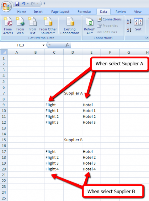 Example when select Supplier A/ Supplier B