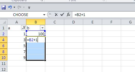 Fill in incremental numbers in a filtered list